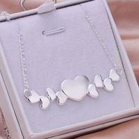 - N275 libre venta al por mayor 925 joyería de plata collar cadenas de los colgantes, venta al por mayor 925 collar de plata de doble corazón Neckl