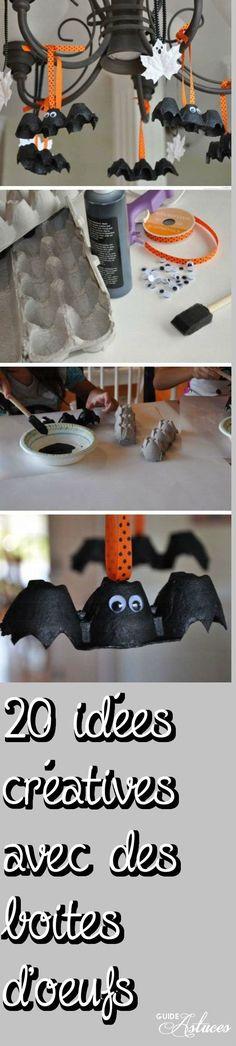 Chauve-souris pour Halloween. 20 idées créatives avec des boites d'oeufs