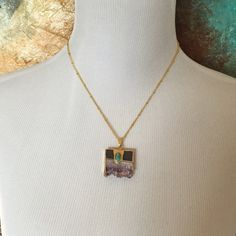 """Gold plated amethyst slab necklace Gold plated amethyst slab necklace with turquoise. 19.5"""" chain with 1.75"""" extender. Pendant 1"""". 3 necklaces available and listed separately as they are different sizes. Jewelry Necklaces"""