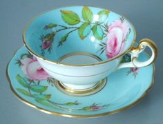 Vintage Tea Cup and Saucer Set, Turquoise and Pink Roses, Signed Foley Teacup and Saucer