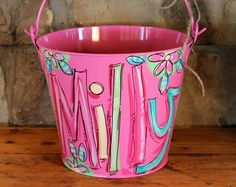 Pink Bucket Personalized Easter Bucket Painted Pail Easter