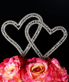 Look at this Timeless Collection Angled Double Heart Cake Topper on #zulily today!