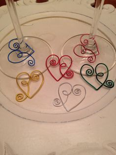 Wire heart wine glass charms Individual charms, look beautiful on any glass stem, even when not being used they look Beautiful on your stem ware display!
