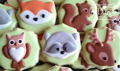 Woodland Animal Fox Owl Raccoon Deer Squirrel Baby Shower Birthday Cookies