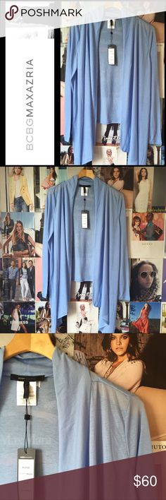 📌NEW📌 BCBG | sky blue lightweight wrap cardigan So pretty, and a perfect wrap for cool spring evenings and heavily air-conditioned offices and restaurants. M. NWT. BCBGMaxAzria Sweaters Cardigans