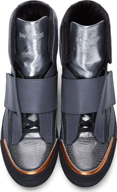 Raf Simons x Sterling Ruby Grey & Red Snakeskin Paneled Sneakers