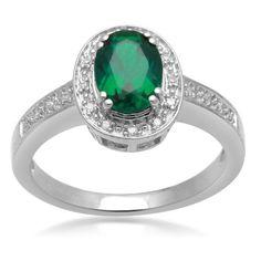 Jewelili Created Oval Emerald and Diamond Ring « Holiday Adds