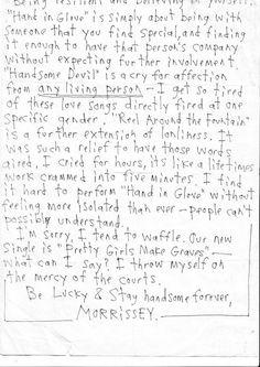 """Be lucky & stay handsome forever"" #Morrissey #letter"