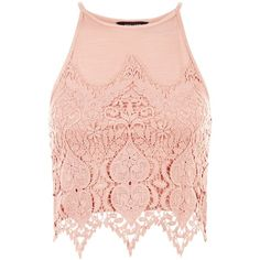 New Look Mid Pink Guipure Lace Crop Top ($21) ❤ liked on Polyvore featuring tops, mid pink, pink crop top, pink top, summer tops, special occasion tops and cocktail tops