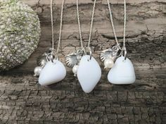 White milk sea glass necklace// Choose your pendant// Sea glass & sterling silver made by RedIslandSeaGlass Silver Earrings, Silver Jewelry, Unique Jewelry, Gifts For Mom, Great Gifts, Scallop Shells, Sea Glass Necklace, Beautiful Gift Boxes, Sterling Silver Chains