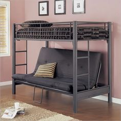 Dashing Black Metal Bunk Beds With Couch Underneath And Cool White Rug