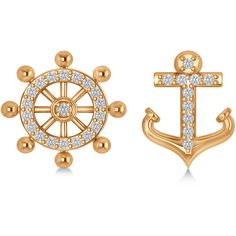 Allurez Anchor & Ship's Wheel Diamond Mismatched Earrings 14k Rose... ($450) ❤ liked on Polyvore featuring jewelry, earrings, diamond anchor earrings, round earrings, navy earrings, 14k rose gold jewelry and glitter earrings