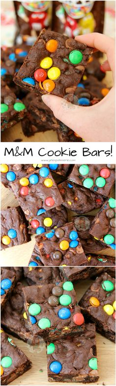 M&M Cookie Bars! - Jane's Patisserie - M&M Cookie Bars! ❤️ Super Chocolatey Cookie Dough full of M&M's, making THE Most Delicious M& - Yummy Snacks, Yummy Treats, Delicious Desserts, Sweet Treats, Yummy Food, M M Cookies, Biscuit Cookies, Shortbread Biscuits, Sandwich Cookies