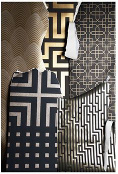 PATTERNS - Art Deco Patterns using foil. really love the use of all the patterns, not to fond of the black and gold colour schemes Wallpaper Art Deco, Et Wallpaper, Graphic Wallpaper, Wallpaper Patterns, Wallpaper Samples, Wallpaper Ideas, Art Nouveau Pintura, Moda Art Deco, Bd Art