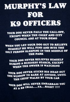 Murphy's Law for K 9 Officers T Shirt Men's XL Blue Pre Owned VGC   eBay