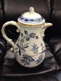 "Meissen Victorian Era Tea Pot-Blue, Gold & White w/ decorative design & top-10"""