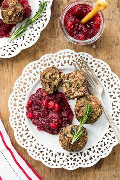 Lentil Mushroom Walnut Balls with Cranberry-Pear Sauce