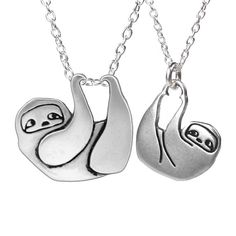 Sloth Family Necklace Set  Sterling Silver Sloth Two by marmar
