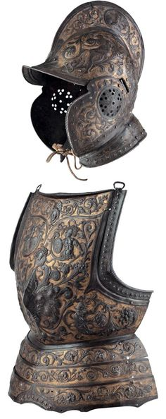 A parade burgonet and cuirass embossed in the highly ornate Milanese fashion of circa 1570- 80, the burgonet skull possibly last quarter of the 16th century.