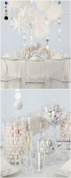 Tablescape ●  white party decor ideas # white wedding ... Wedding ideas for brides, grooms, parents & planners ... https://itunes.apple.com/us/app/the-gold-wedding-planner/id498112599?ls=1=8 … plus how to organise an entire wedding ♥ The Gold Wedding Planner iPhone App ♥
