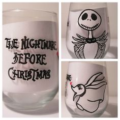 Hand painted and Personalized Nightmare Before Christmas Glass  ***Available on Etsy