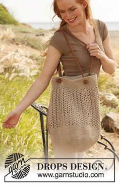 """Carry All by DROPS Design   """"The perfect bag - spacious and useful!""""  Crochet DROPS bag in """"Lin"""" and """"Cotton Viscose""""."""