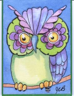 owl ACEO Original Painting by J. Burgess ATC miniature watercolor art card