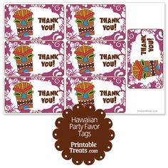 Purple Tiki Mask Party Favor Tags from PrintableTreats.com