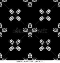 Monochrome seamless pattern. Texture for web, print, wallpaper, wrapping, textile, packaging. White ornament on black.