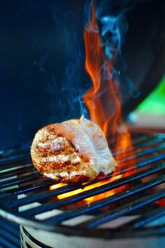 Proving that Pork Chops can be Grilled like steaks - I reverse sear the chops by smoking them first and then searing over a charcoal chimney for maximum flavor Barbecue Recipes, Grilling Recipes, Seared Pork Chops, Pork Loin, Summer Barbecue, Bbq, Finger Sandwiches, Man Food, Easy Family Meals