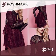 """FREE PEOPLE ♠️ Beatrix Lace Mini NWT Dance the night away in this delicate lace party dress featuring contrast overlay detailing. Keyhole opening along the bust with button closures. Long sleeves and a swingy skirt with eyelash lace with scalloped edges. Hidden side zip closure.  100% Nylon Contrast: 70% Nylon, 30% Cotton Dry Clean Import Measurements for size 6 Bust : 24.5"""" = 62.23 cm Waist: 28"""" = 71.12 cm Length: 38"""" = 96.52 cm Sleeve Length: 25"""" = 63.5 cm Free People Dresses Mini"""