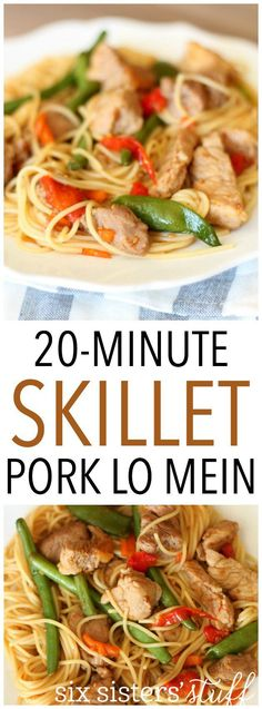 20-Minute Skillet Pork Lo Mein on SixSistersStuff.com. This meal is easy to make and so delicious!