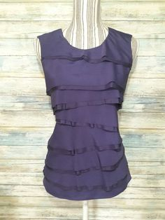 MICHAEL KORS 100% SILK TIERED SLEEVELESS TOP CAMI BLOUSE PURPLE CAREER CASUAL M  #MichaelKors #Blouse #Career