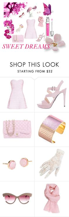 """SWEET DREAMS"" by diamond-mara ❤ liked on Polyvore featuring Hervé Léger, Prada, Chanel, Aspinal of London, Pernille Corydon, Black, Preen, Ermanno Scervino and Christian Dior"