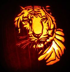 Tiger Pumpkin Pattern | not so mad hatter pumpkin carving pattern jack o lantern pumpkin