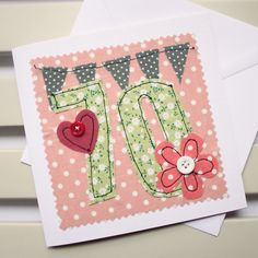 70th Birthday Card Machine Embroidered by PaperSoupCards on Etsy