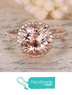 Round Morganite Engagement Ring Pave Diamond HALO 14K Rose Gold 9mm from the Lord of Gem Rings https://www.amazon.com/dp/B01I22PVFG/ref=hnd_sw_r_pi_dp_l2MFxb441T73X #handmadeatamazon