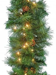 White Pine Garland lights 9 FT holiday artificial christmas Xmas green new