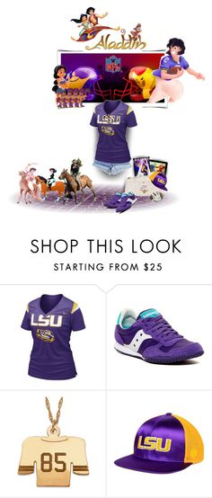 """""""BotDA Round 7/Sports (Football, Equestrian, Cheer Goddess)"""" by nobility99 ❤ liked on Polyvore featuring Levi's, NIKE, Saucony and Top of the World"""