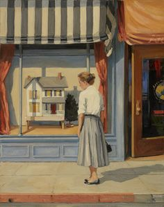 Painting of vintage dollhouse, artis Sally Storch, source: scape