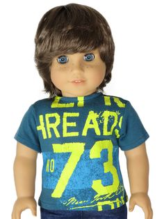 American Boy Doll Clothes - Silly Monkey - Teal and Yellow No. 73 Tee, $10.00 (http://www.silly-monkey.com/products/teal-and-yellow-no-73-tee.html)