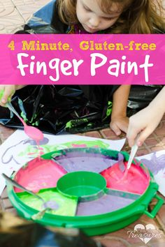 This gluten-free finger paint is safe for all kids who suffer with gluten allergies. Super easy, this no-cook recipe is ready in FOUR MINUTES! #glutenfree #fingerpaint #paintforkids