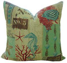 Coastal Decorative Pillow Cover / 20 x 20 / by CaliforniaLivinHome, $34.00