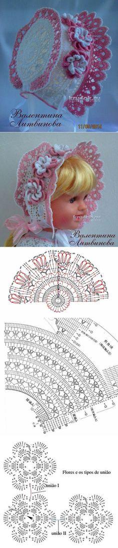 Капор для девочки — работа Валентины Литвиновой - вязание крючком на kru4ok.ru