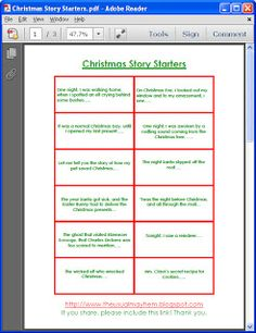 30 free printable story starters! Print on cardstock, have your child pick one a day through December!