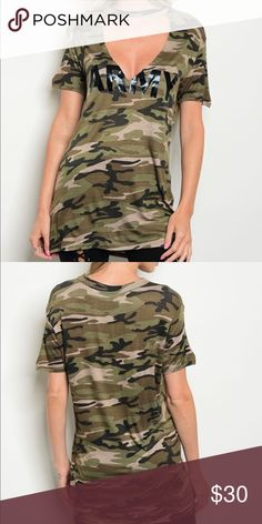 Pre-order Amy distressed shirt Now accepting pre-orders for Amy Distressed shirt. Shirts are very stylish. Army long distressed T-shirt is a must have. Shirt will come in sizes small to large. Bundle and save more Tops Tees - Short Sleeve