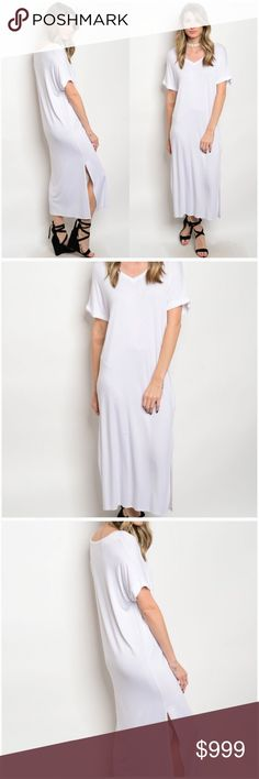 """White V-Neck T-Shirt Jersey Dress •Made in the USA •Fabric Content: 95% Viscose 5% Spandex •Slit up each side •Slightly sheer •V-Neck •Straight hem •Cuffed Sleeves  Measurements: Small:       Bust: 38"""" Length: 47"""" Medium:   Bust: 40"""" Length: 48"""" Large:       Bust: 42"""" Length: 49""""  ❗️Price is firm unless bundled❗️  QFW77V18470 Dresses"""