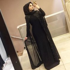 Image may contain: 1 person, standing Hijab Evening Dress, Hijab Dress Party, Hijab Style Dress, Modest Fashion Hijab, Stylish Hijab, Abaya Fashion, Women's Fashion, Muslim Women Fashion, Islamic Fashion