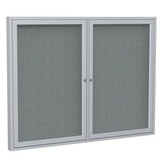 Ghent 2 Door Enclosed Bulletin Board Surface Color: Gray, Size: 3' H x 5' W, Frame Finish: Bronze