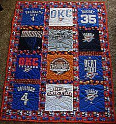 Oklahoma City Thunder tshirt quilt Shirt Quilts, Oklahoma City Thunder, Glue Gun, Afghans, Quilting, Ribbon, Glitter, Warm, My Love